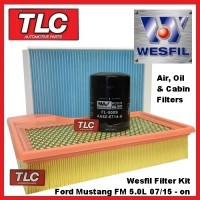 Wesfil Air, Oil & Cabin Filter Kit Ford Mustang FM 5.0L V8 Coyote 07/2015 - on