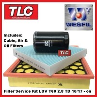LDV T60 Wesfil Filter Service Kit - Oil Air Cabin -  2.8TD 10/17 - on