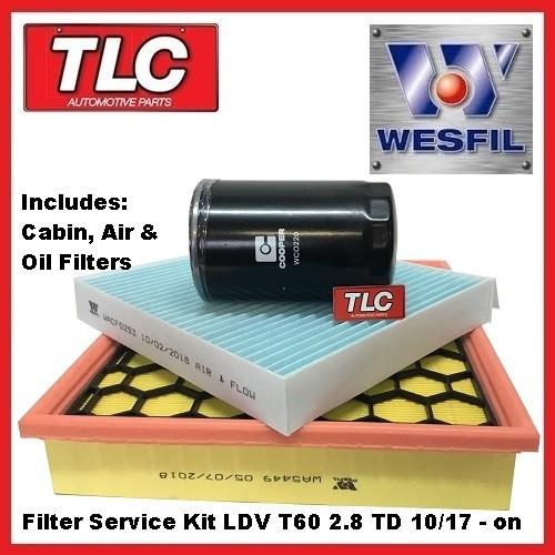 LDV T60 Wesfil Filter Service Kit - Oil Air Cabin -  2.8TD 10/17 - on