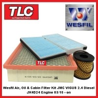 Wesfil Air, Oil & Cabin Filter Kit JMC VIGUS 2.4 Turbo Diesel 03/15 - on JX4D24