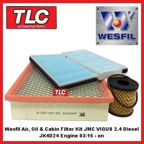 Wesfil Air, Oil & Cabin Filter Kit JMC VIGUS 2.4 Turbo Diesel 03/15 - on JX4D24
